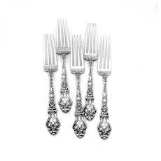 Douvaine Dinner Forks Set Unger Bros Sterling Silver Mono