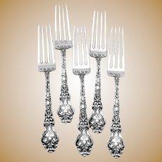 Douvaine Dinner Forks Set Unger Bros Sterling Silver Mono