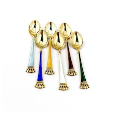 Danish Gilt Enamel Demitasse Spoons Set Lauridsen Sterling Silver