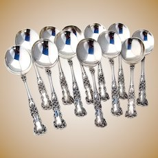 Gorham Buttercup 12 Gumbo Soup Spoons Set Sterling 1900 Mono