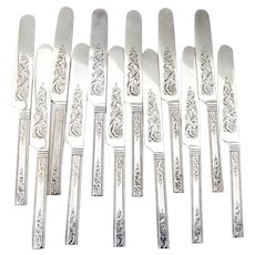 Andrew Warner 12 Engraved Breakfast Knives Set Baltimore Sterling 1860s