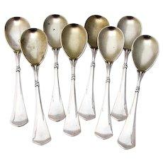 German Sorbet Spoons Set Gilt Bowls 800 Silver 1900 Mono