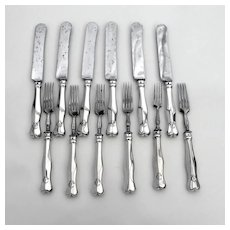 Austro Hungarian 6 Forks 6 Knives Set 800 Silver 1900s Mono