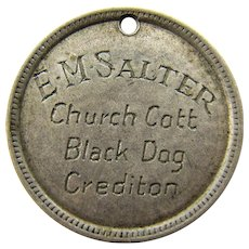 1930's E.M. Salter Family engraved Love Token, Black Dog, Devon England