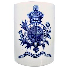 1887 Queen Victoria Blue & White 50th Jubilee Coffee Can / Mug, Wythall, UK