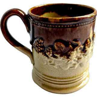 c. 1850's Child's English Brown Stoneware Sprigged Coffee Can / Mug