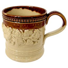 1830's Child's Stoneware Sprigged Mug or Coffee Can