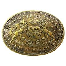 1880's Plymouth, Devon England Brass Victorian Library Token Medal