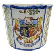 1860's French St. Jean De Luz Crest Faience Tin Glazed France Cup, Coffee can