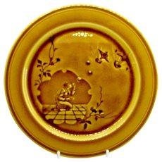 1880's French Choisy-Le-Roi Majolica Japanesque Faience Pottery Plate