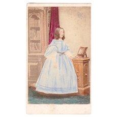 1860's Civil War era Hand Tinted CDV Photo of Young Girl