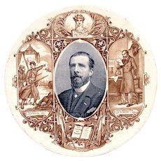 1890's Sarreguemines Paul Déroulède French Political Transferware Plate