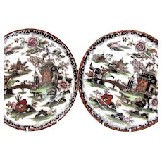 1860's 2 English Mulberry 'Burmah' Plates by Morgan, Wood & Co