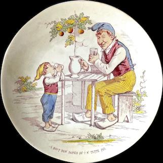 1890's French Sarreguemines Eau de vie Brandy Liquor Childs / Rural Scene Decorative Plate