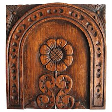 19th c. Antique Hand Carved English Victorian Wood from old English Church Pew Panel