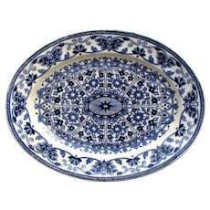 1870's Booths TGB Indian Ornament Small Blue & White Transferware Platter
