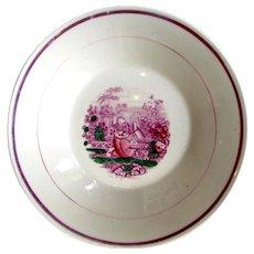"""1820's """"Play Fellow"""" Cat Pink Lustre Luster Sunderland Bowl"""