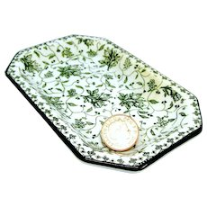 1914 Royal Doulton Miniature Green Toile Pin Dish or Tea Tray Plate