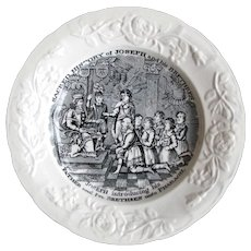 """1830's Thomas Fell & Co. """"Joseph Introducing his Father"""" Child's Children's Transferware Pearlware Plate"""