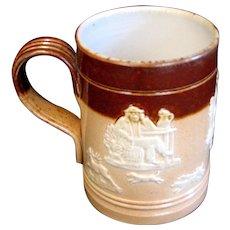 c. 1900 English Edwardian era Royal Doulton Sprigged Stoneware Cider Tankard / Mug
