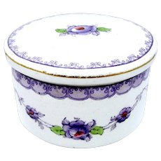 1915 Keeling Co. Losol Ware Lavender Purple English Lidded Pot or Dresser Box