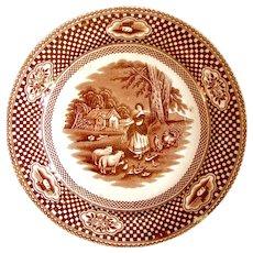 "1830's John Meir & Son ""Bessarabia"" Brown Transferware Plate"
