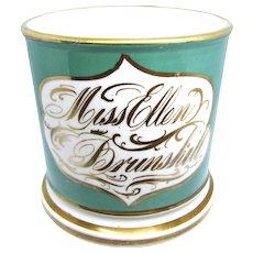 1840 Miss Ellen Brunshill Child's Coalport Christening Mug or Coffee Can
