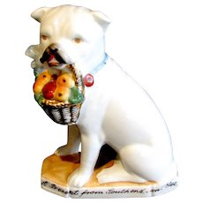 1890's Staffordshire Bull Terrier Porcelain Dog Figure German Fairing Souvenir