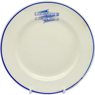 1930's Swimbridge King George V Jubilee Plate: English Village of the Jack Russell Terrier Dog