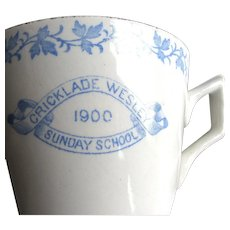1900 Cricklade Wesleyan Church, Cotswold, England Sunday School Cup, Saucer & Plate