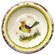 1880's French Country Redware Faience Yellow Bird Pottery Bowl