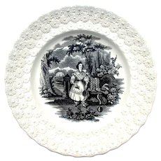 1830s William Smith & Co Transferware Pearlware Badminton Child's Plate