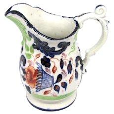 1840's Gaudy Welsh Jug, Flower Basket Pattern & Scroll Handle