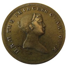 1817 Princess Charlotte Brass Mourning Death Token