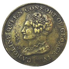 1821 Caroline Queen Consort Of George IV Death Mourning Token Medal UK