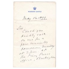 1899 Queen Victoria's Secretary Arthur Bigge Signed Windsor Castle Letter