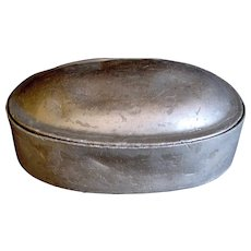 19th c. Ovoid Shaped and Hinged Pewter Snuff or Tobacco Box