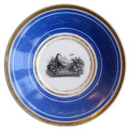 1830's early French Limoges Baby in Basket w/Bird Transferware Plate