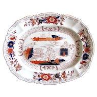 c. 1825 Small Mason's Georgian Oriental Ironstone Platter w/ Comb Back