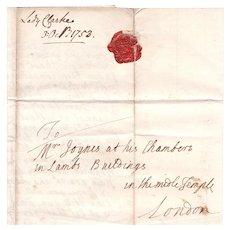 1753 Lady Mary Clarke, Windsor Castle Georgian era letter to Attorney Samuel Joynes