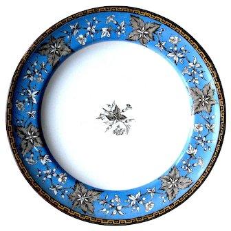 "1876 Victorian Minton ""Crane Bill"" Pattern Dinnerware Plate, Deep Blue Colour"
