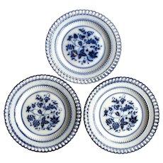 1880's 3 Flow Blue Waechtersbach German Basket Weave Ribbon Plates