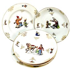 1890's Heinrich H & Co. German Child's Circus Dinnerware Set w/ Dogs