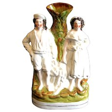 1870's Fisherman & Wife Spill Vase Victorian Staffordshire Figure
