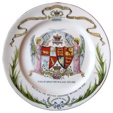 1911 Shelley Late Foley King George V & Queen Mary Armorial Coronation Plate