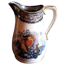 1870's Flow Blue English Etruscan Urn, Aesthetic Ironstone Jug or Pitcher
