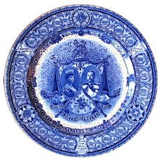 1911 George V & Queen Mary Coronation Royal Doulton Flow Blue Plate