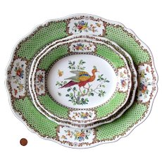 1890's 3 Cauldon Staffordshire Bird Platters, Ashet or Meat Plates