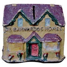 "c. 1950's ""Dr. Barnardo's Homes"" Figural House Bank, Charity Collection Box, England UK"