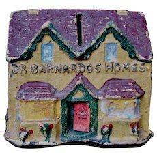 "c. 1950's ""Dr. Barnardo's Homes"" Figural House Bank, Charity Collection Box, England UK"
